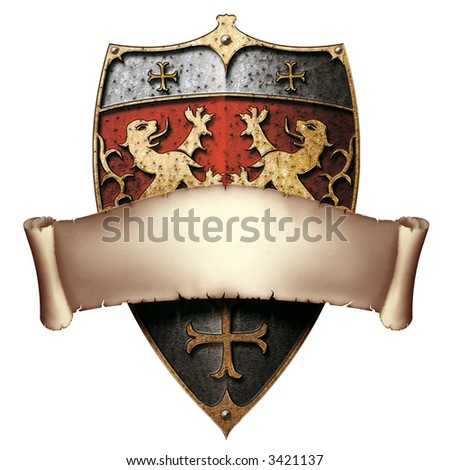 Metal shield with facing lions, crosses and parchment banner - stock photo