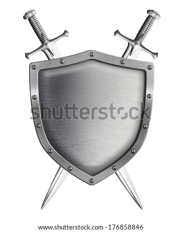 metal shield with two crossed swords isolated on white - stock photo