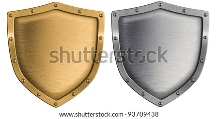 metal shields set silver and gold isolated on white - stock photo