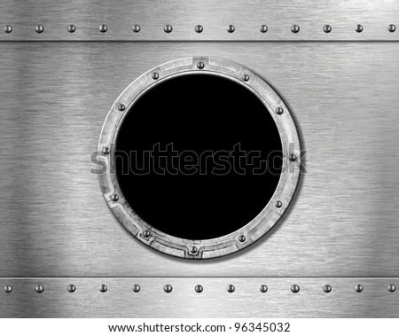 metal ship porthole - stock photo