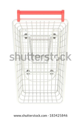 Metal shopping cart isolated over the white background, top view above - stock photo