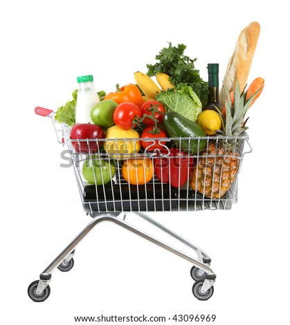 metal shopping trolley isolated on white background - stock photo