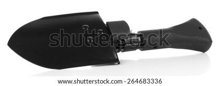 Metal shovel isolated on white - stock photo