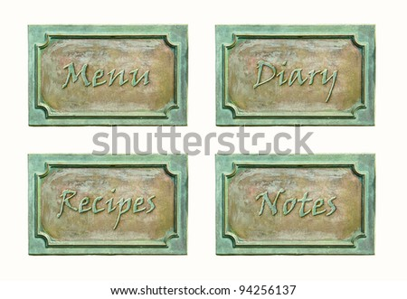 Metal sign plates with text and frame for your design. Bronze metal plaque with screw bolts. Design elements for signboard cover: notes, diary, menu and recipes. - stock photo