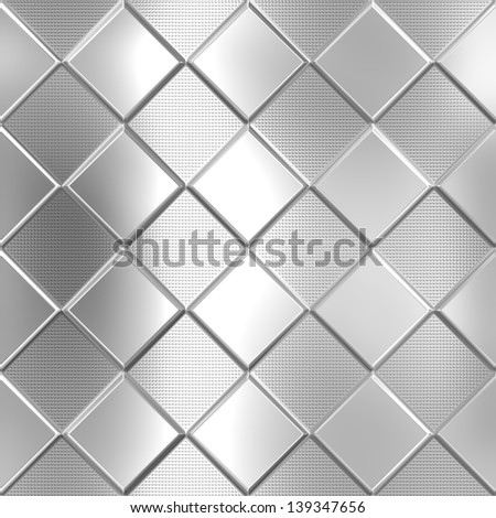 Metal silver checked pattern background - stock photo