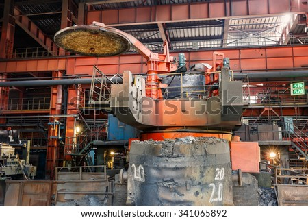 Metal smelting Steel mills factory scene - stock photo