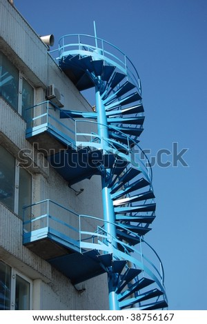 Metal spiral stairs .Kiev,Ukraine - stock photo