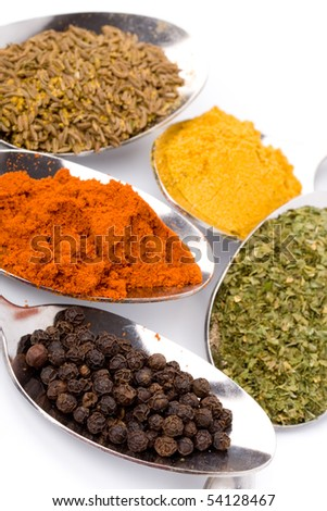 metal spoons with various ground spices on white background