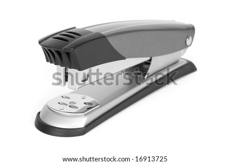 Metal stapler on a white background