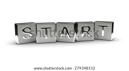 Metal Start Text (Isolated on white background) - stock photo