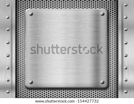 metal steel plate background - stock photo