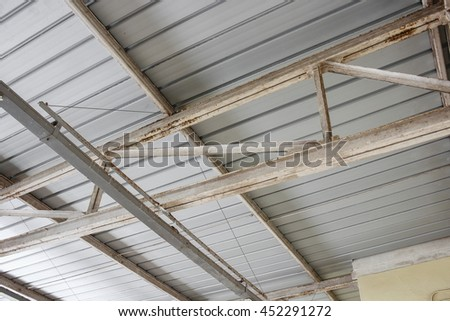 metal steel roof structure - stock photo