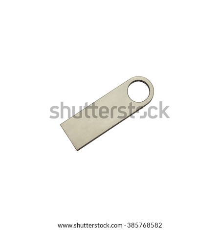 Metal (steel) USB flash drive isolated on a white background, nice and simple design, top view - stock photo