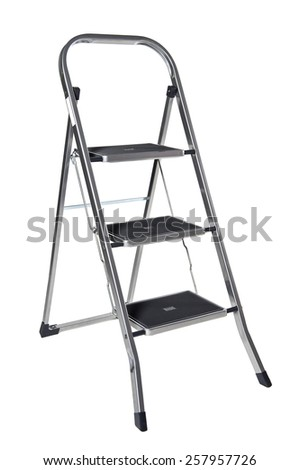 Metal stepladder isolated - stock photo