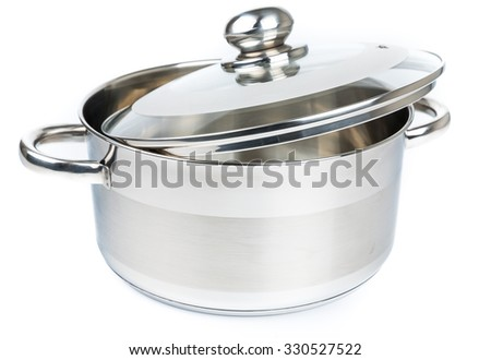 Metal stock pot isolated on white. Cookware