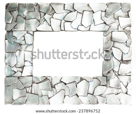 metal stones frame isolated on a white background - stock photo