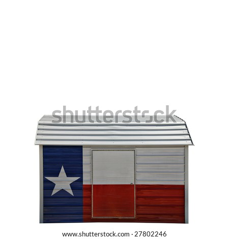 Metal Storage Container Painted with Colors of Texas Flag - stock photo
