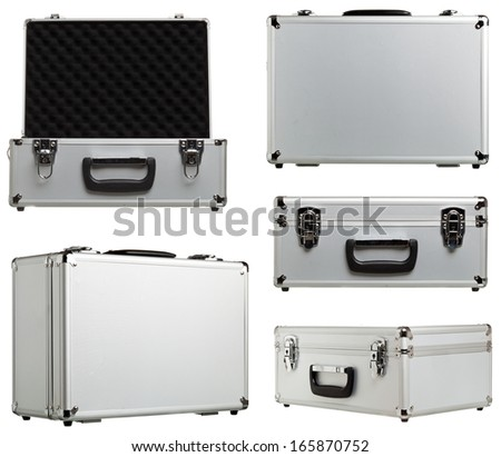 Metal suitcase different variations open and closed isolated on white background - stock photo