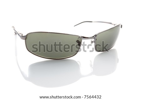 Metal sunglasses isolated on white with subtle reflection - stock photo