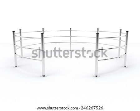 metal supermarket barrier in shape of circle on white