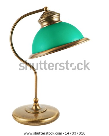 Metal table-lamp with a green lampshade isolated over white background
