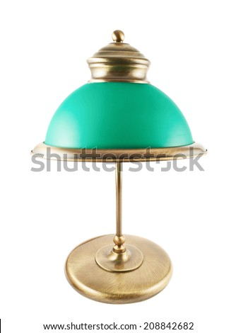 Metal table-lamp with a green lampshade isolated over white background - stock photo