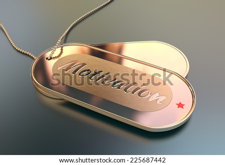 Metal tags with the word Motivation - stock photo