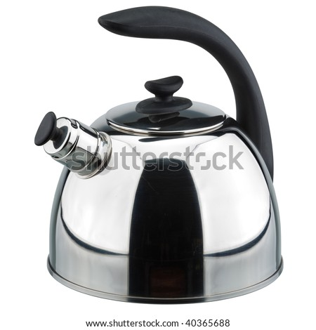 Metal teapot on a white background. Vector clipping path. - stock photo