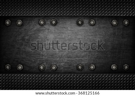 metal template with diamond plate background - stock photo