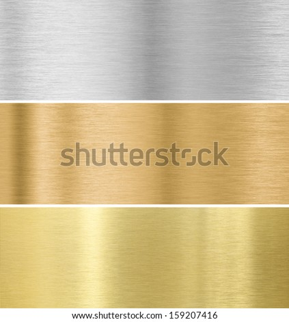 metal texture background : gold, silver, bronze collection - stock photo