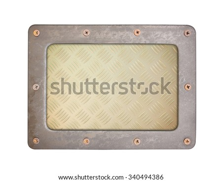 metal texture pattern style of steel background plate with frame and screws - stock photo