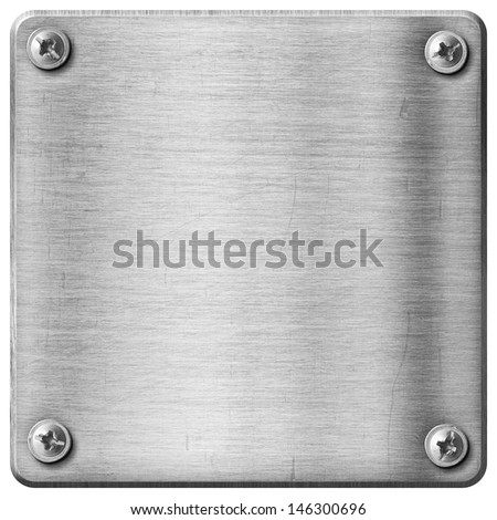 metal texture plate background with screws - stock photo