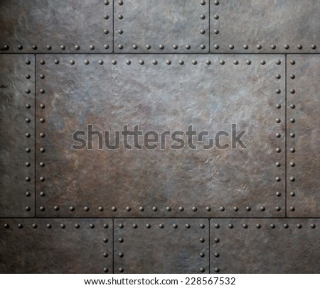 metal texture with rivets as steam punk background - stock photo
