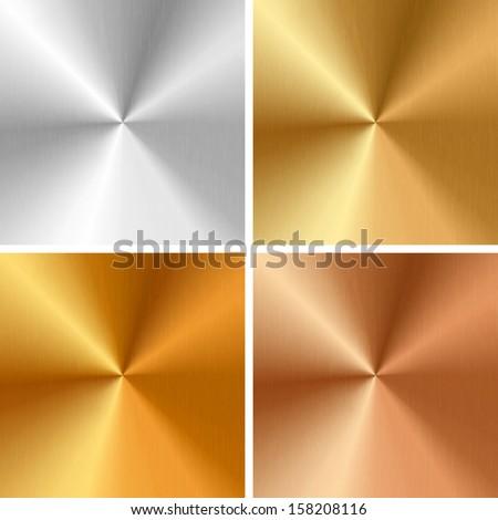 Metal textures - silver, gold, antique gold, bronze - stock photo