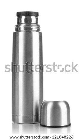 metal thermos isolated on white - stock photo