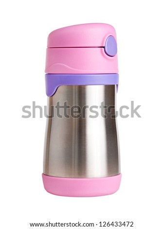 Metal thermos, isolated on white - stock photo