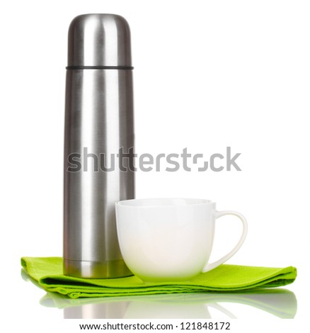 metal thermos with cup isolated on white - stock photo