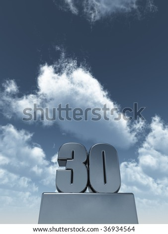 metal thirty - 30 - in front of cloudy blue sky - 3d illustration