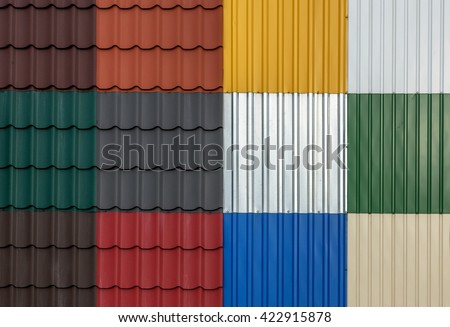 Metal tiles advertising natural set colored stock photo for Modern roofing materials