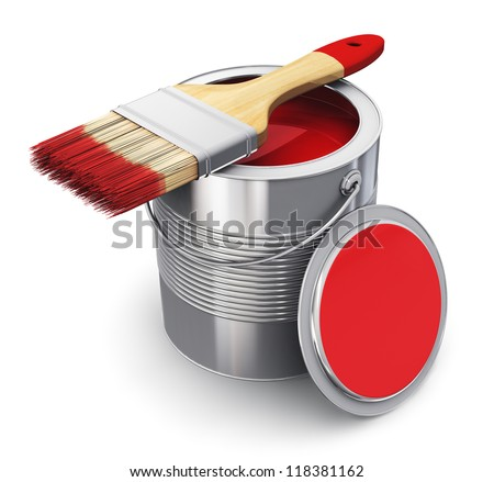 Metal tin can with red paint and paintbrush isolated on white background - stock photo