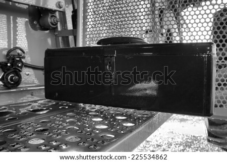 Metal toolbox in black and white