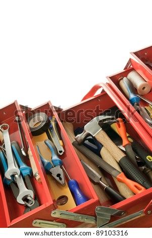 Metal toolbox with carpenter's tools - stock photo