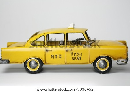 metal toy NYC taxi - stock photo