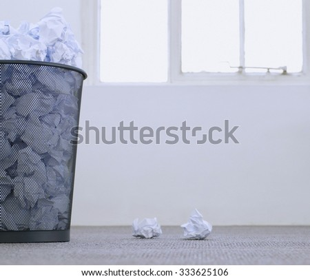 metal trash bin from paper  - stock photo