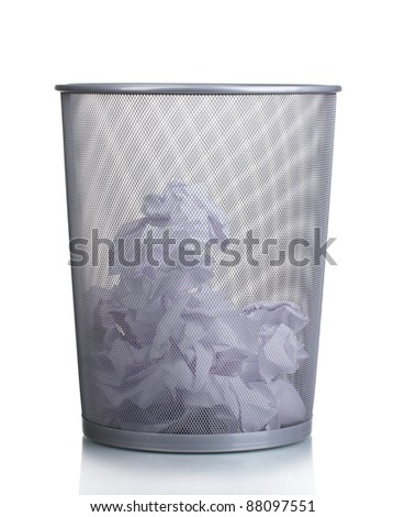 Metal trash bin from paper isolated on white - stock photo