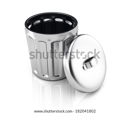 Metal trash can isolated on white background. 3d rendering image - stock photo