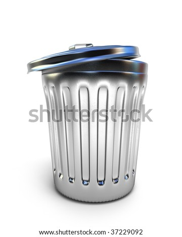 Metal trashcan isolated on white - stock photo