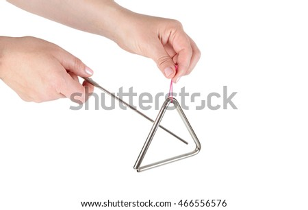 Metal triangle on white background, music instrument