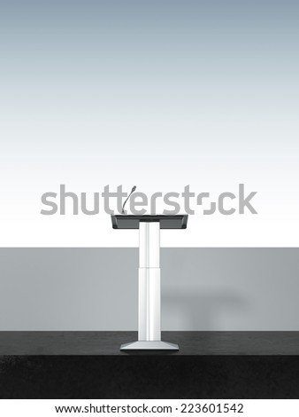 Metal tribune on the modern stage - stock photo