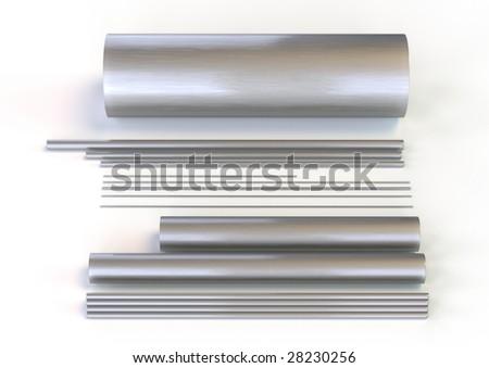 metal tubes - stock photo
